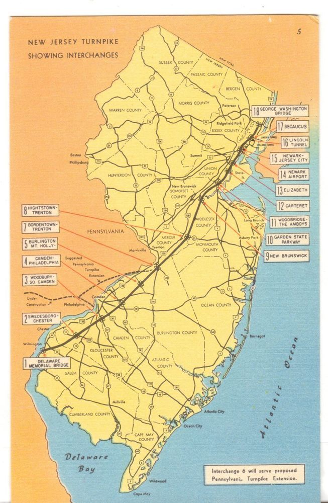 Unused Postcard New Jersey Turnpike Map showing Interchanges NJ