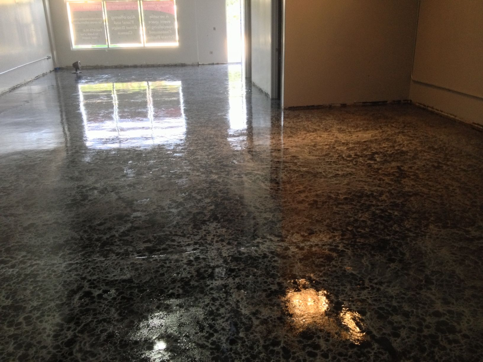 Black Over Silver Epoxy Paint On Concrete Floor For New