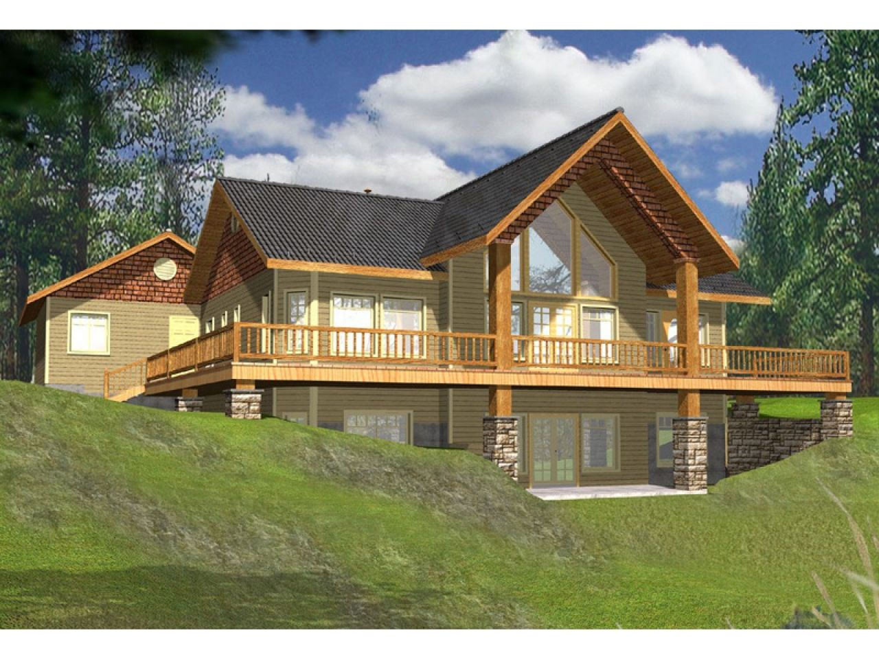 Lake house plans with rear view wrap around lakefront for Lake cabin house plans