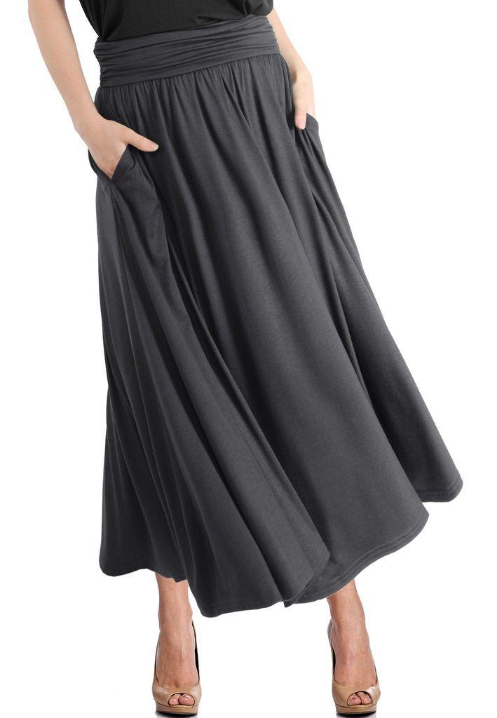 28a9e4365f High Waist Fold Over Pocket Shirring Ankle Length Skirt in 2019 ...