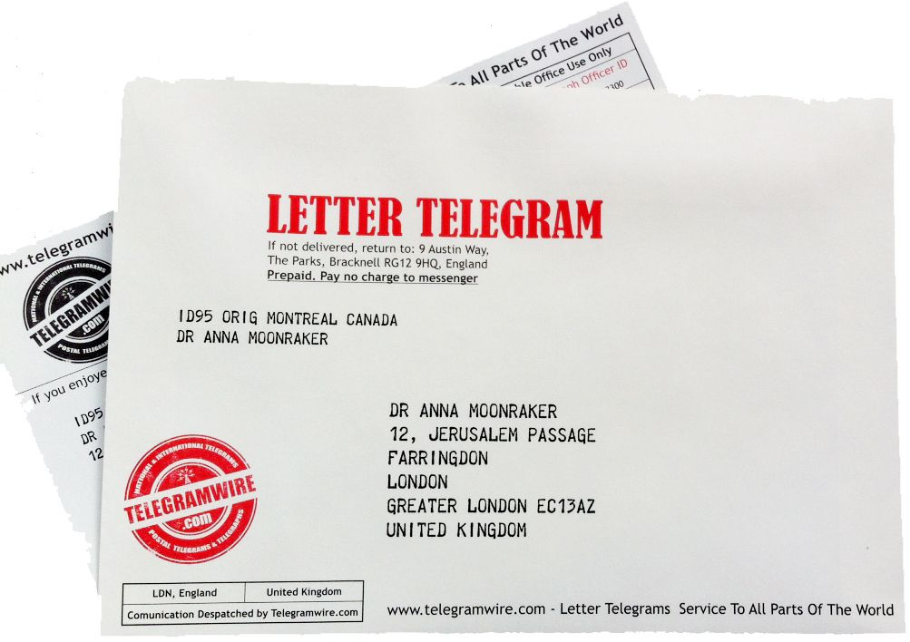 It could be you sending this telegram or your name on the envelope - new letter envelope address format canada