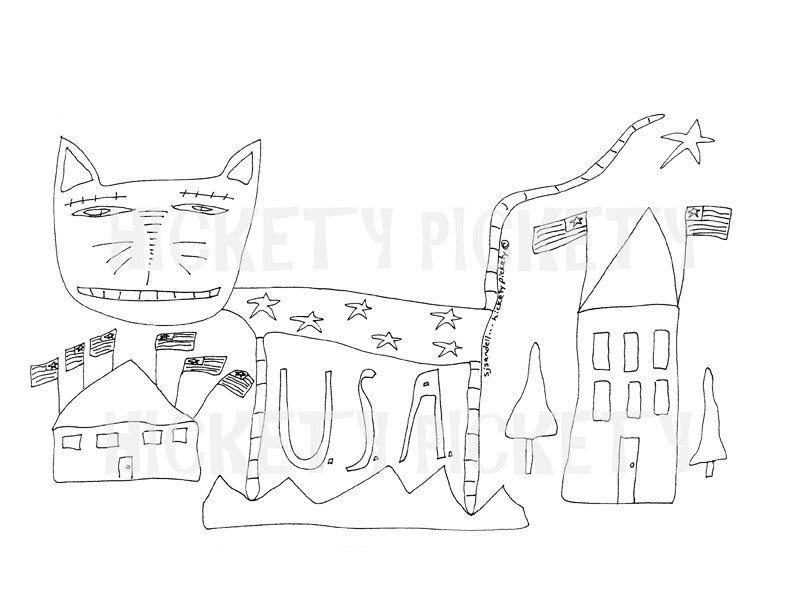 Primitive Stitchery Pattern Cat Americana Patriotic Punch