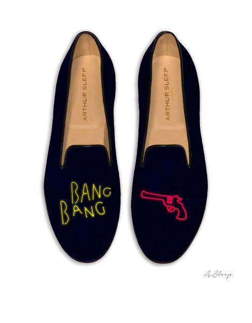 230e5d56d9fb01 Bang Bang Icons on Navy English Cotton Velvet | Arthur Sleep London Slippers