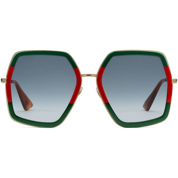 36a140f76028b Gucci Oversize Square-Frame Metal Sunglasses ( 330) ❤ liked on Polyvore  featuring accessories