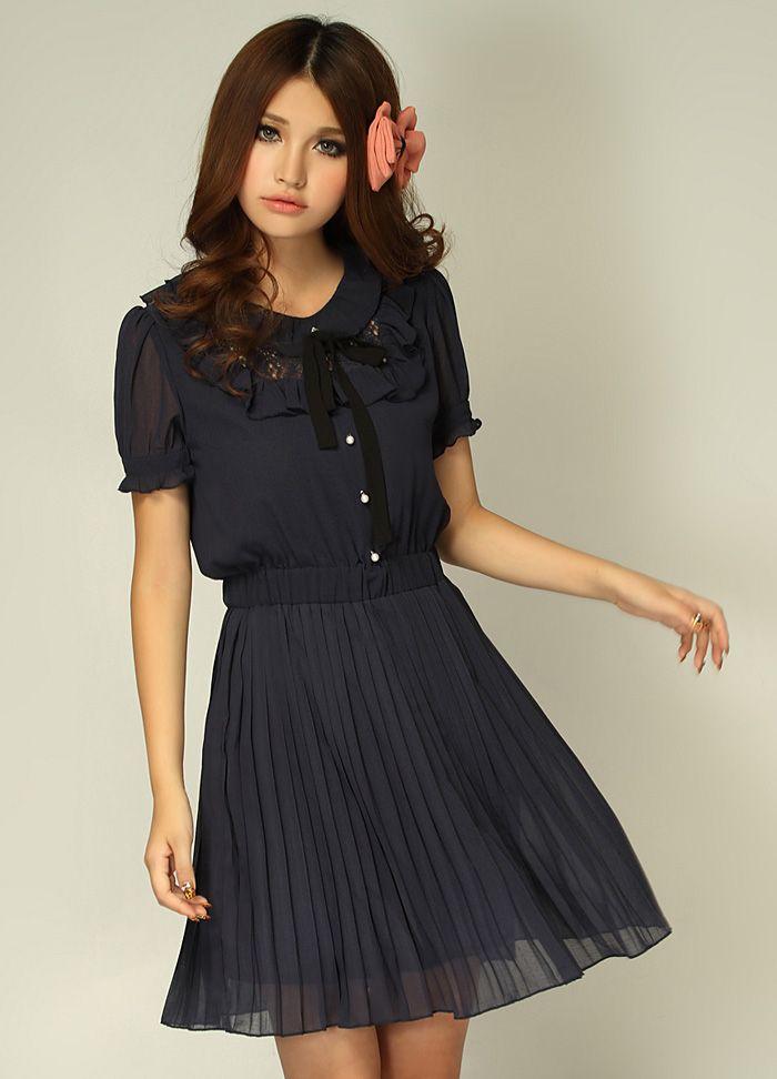 Single Breasted Ruffle Draped Waisted Dress Black