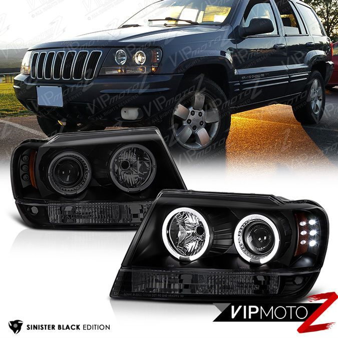 Jeep 99-04 Grand Cherokee Halo Projector Smoke Fog Lights w// Bulbs+Switch+Wire
