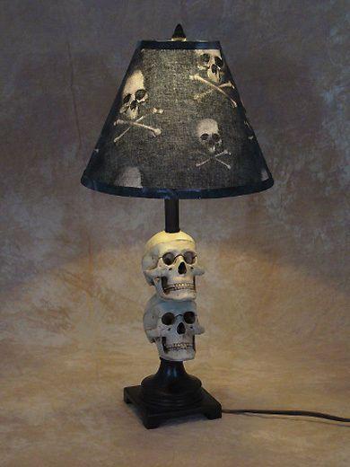 Mini Skull Desk Lamp bone shade Halloween Prop Skulls in Collectibles, Holiday & Seasonal, Halloween   eBay