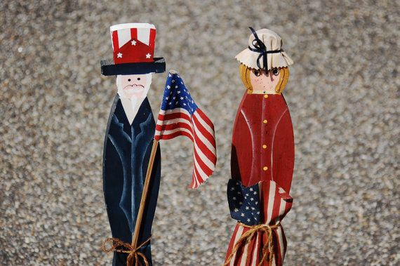 Fourth of July Patriotic Folk Art Uncle Sam and Betsy Ross, Americana Primitive Wood Statue, 4th of July, American Flag - SOLD!