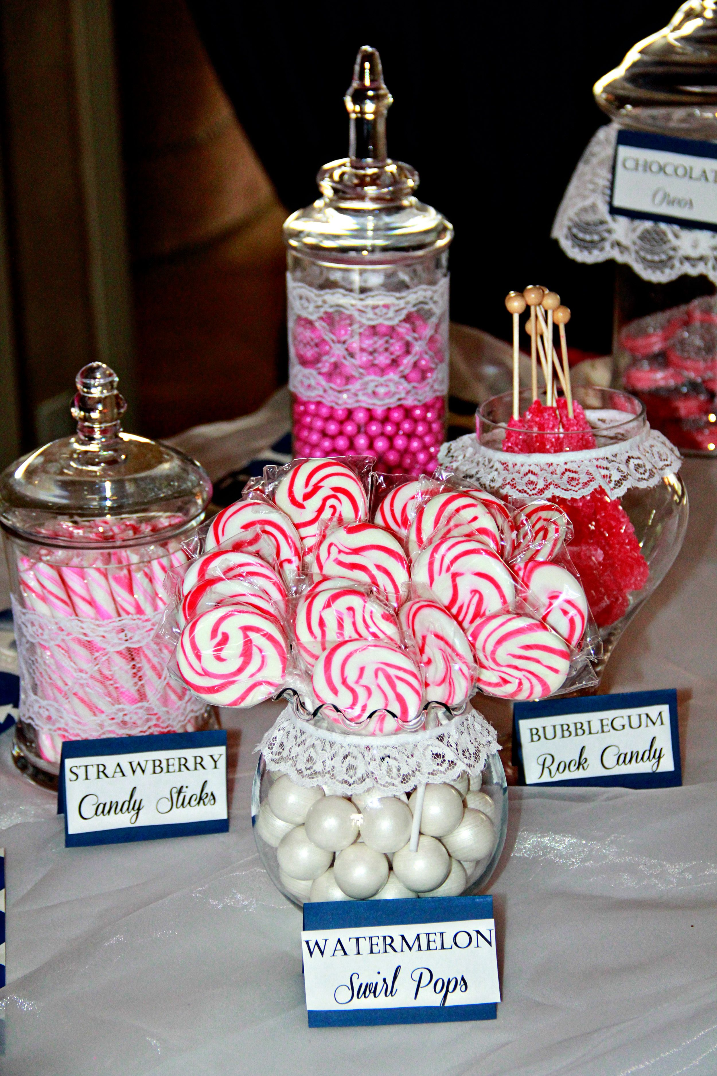 Pink candy Pearls and Lace #bridal shower #pink #navy blue #lace ...