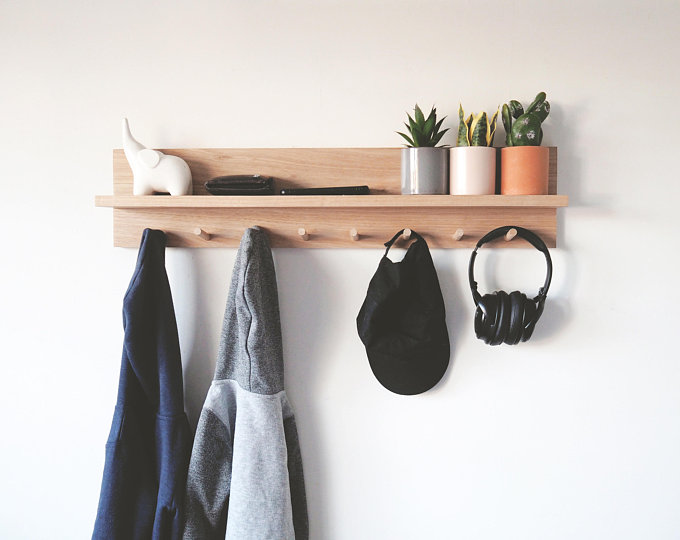 Coat Rack Entryway Organizer Etsy Wall Mounted Coat Rack Coat Rack Shelf Entryway Organization