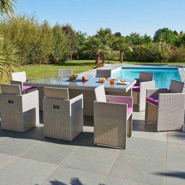 Salon de Jardin en Résine Tressée avec 8 fauteuils ...