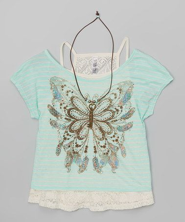 This Coral Feather Tee Set - Girls is perfect! #zulilyfinds