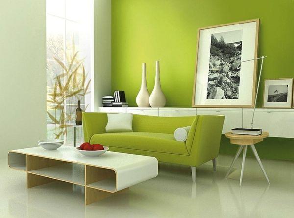 Grüntöne Wandfarben Minimalistische Ideen Fürs Wohnzimmer 600×445
