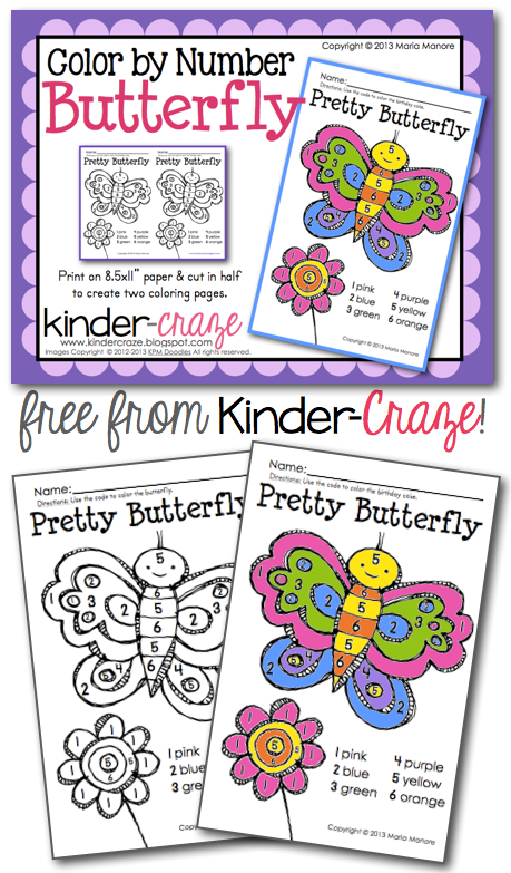 Color By Number Butterfly Freebie
