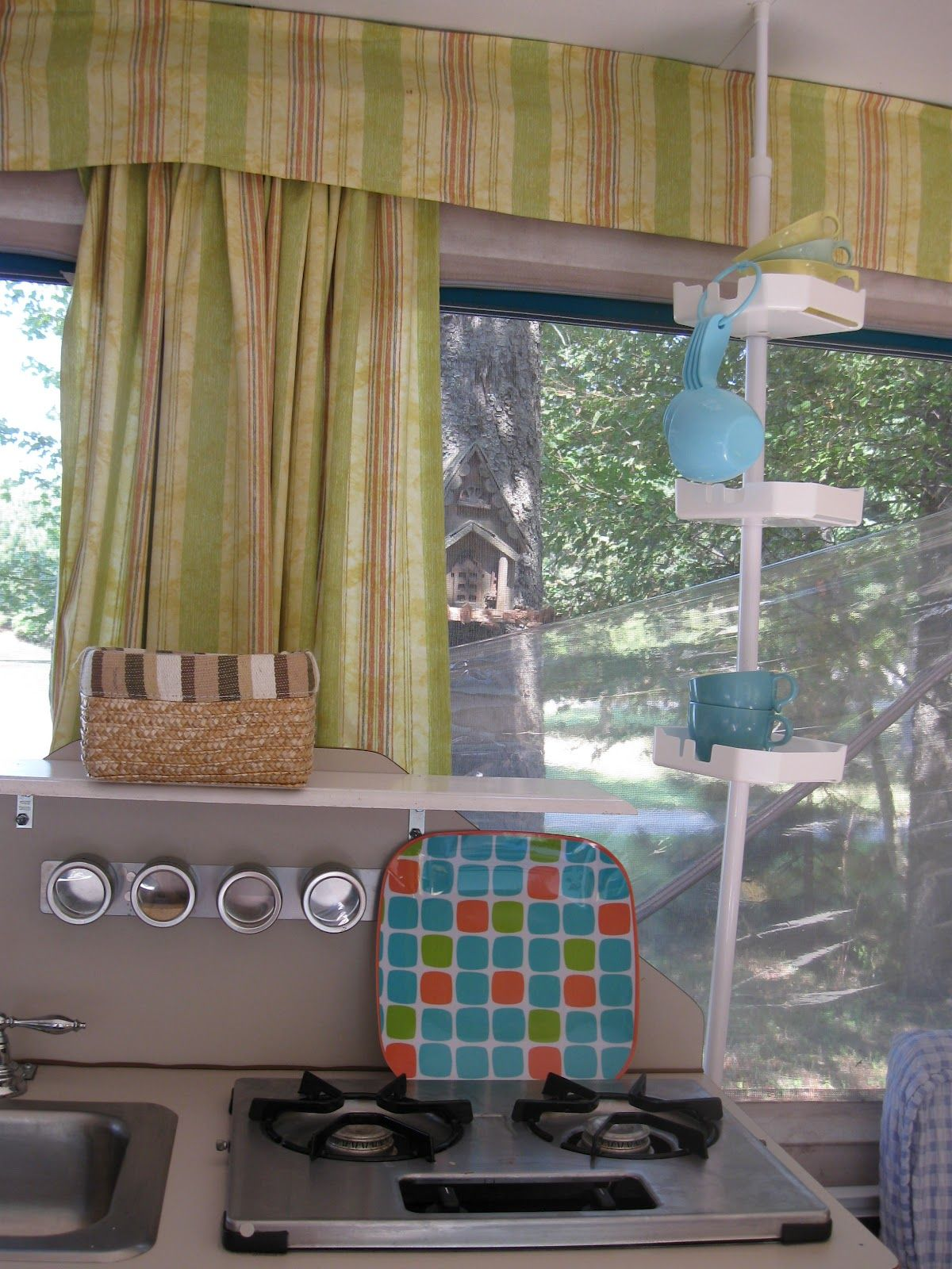 Shower Curtain Rod For Storage In Pop Up Camper Picture Borrowed