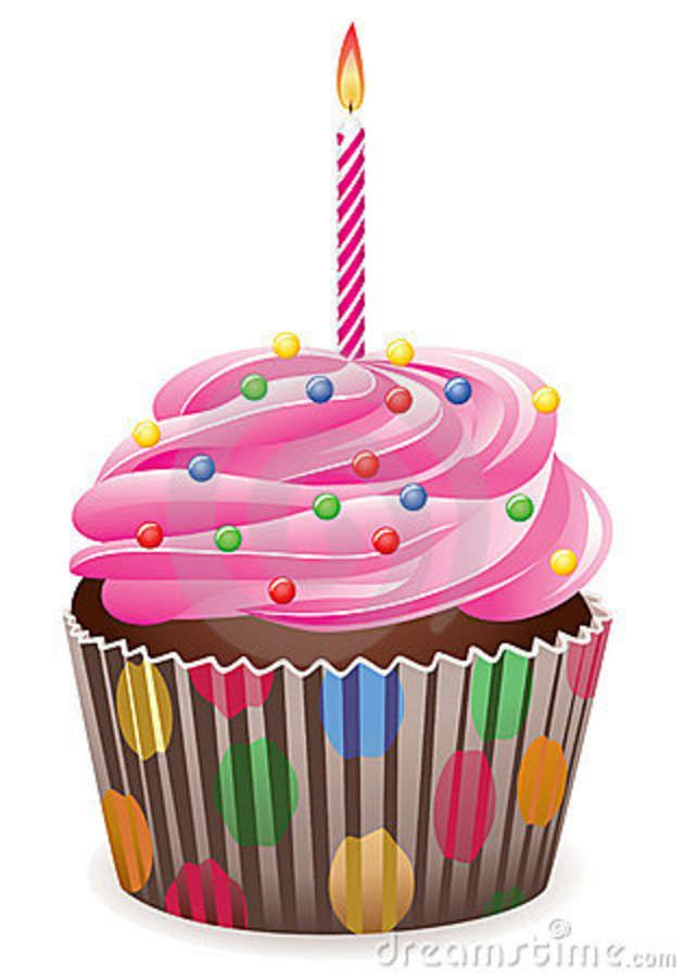 Birthday Cupcake Clipart Cupcake With Burning Candle Royalty Free