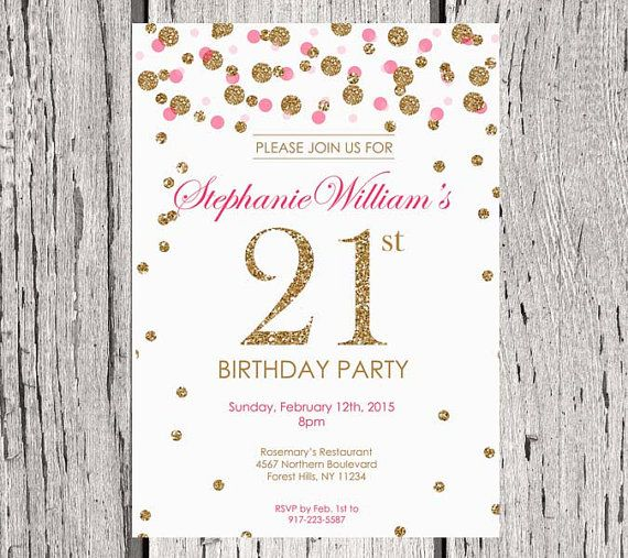 21st Birthday Invitation White Gold Glitter Party Invite Adult Polka Dot Elegant Modern Printable Digital DIY
