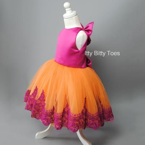 Princess Demi Dress (Hot Pink) - Couture - Itty Bitty Toes