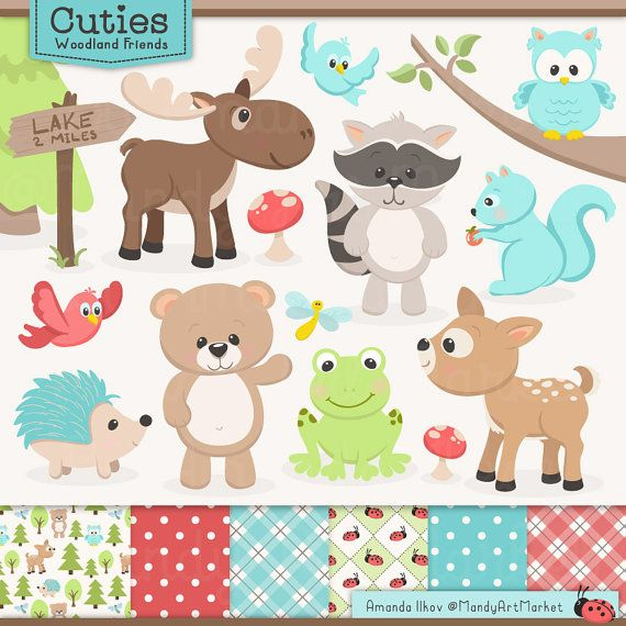 Cute Woodland Animals Clip Art Papers Woodland Clipart Etsy Owl Clip Art Woodland Animals Animal Clipart