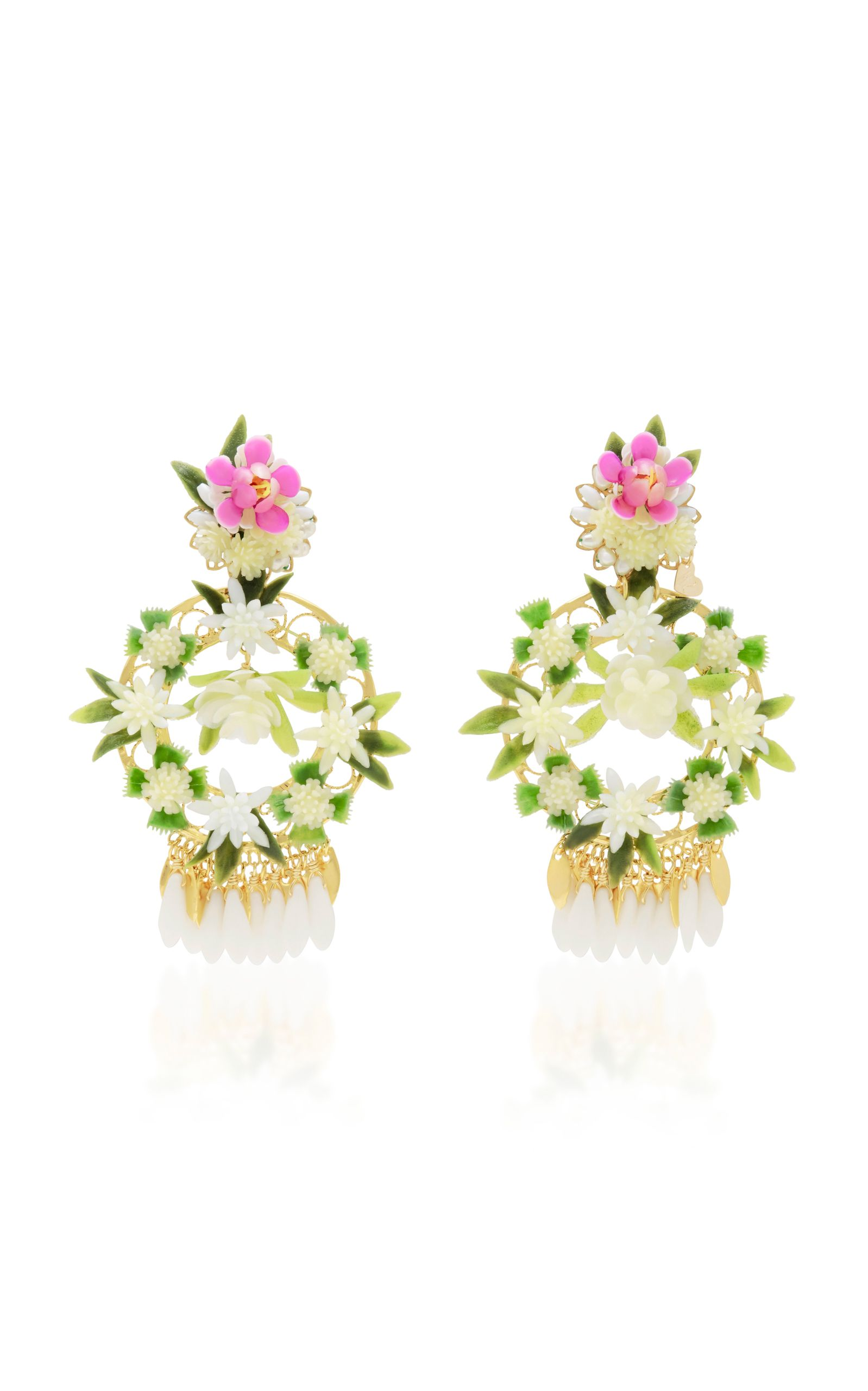 Mercedes Salazar Fiesta White And Gold Tone Floral Drop Earrings Floral Rose Gold Earrings Drop Earrings