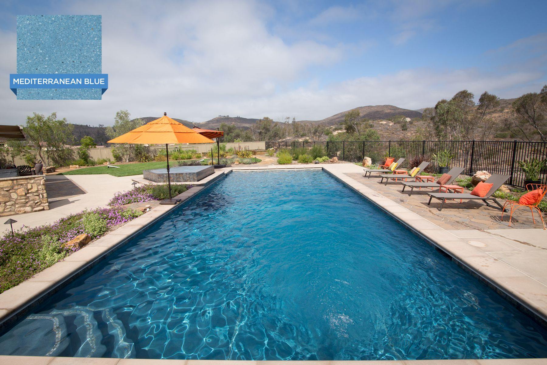 this inviting swimming pool in san diego is finished with the smooth polished marble of hydrazzo mediterranean pool plaster pool colors swimming pool hot tub pool plaster pool colors