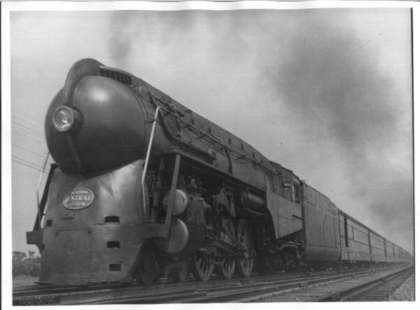 5445, J-3a, at Syracuse, June 1946 with the Mercury ... Henry Dreyfuss Train
