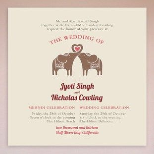 Elephant Heart Mehndi Wedding Invitation Collection