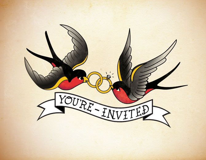 Super Cute Tattoo Sailor Jerry Inspired Invitations Graphic Design Art Sailor Jerry Tattoos Sailor Jerry