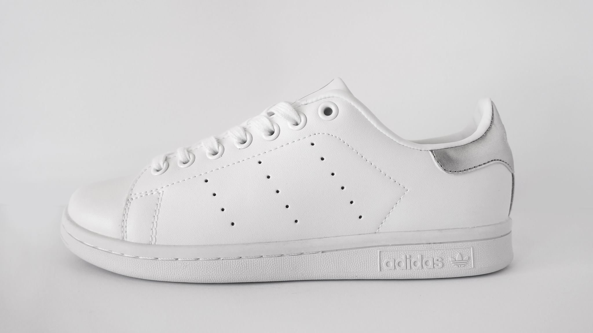 adidas stan smith silver white