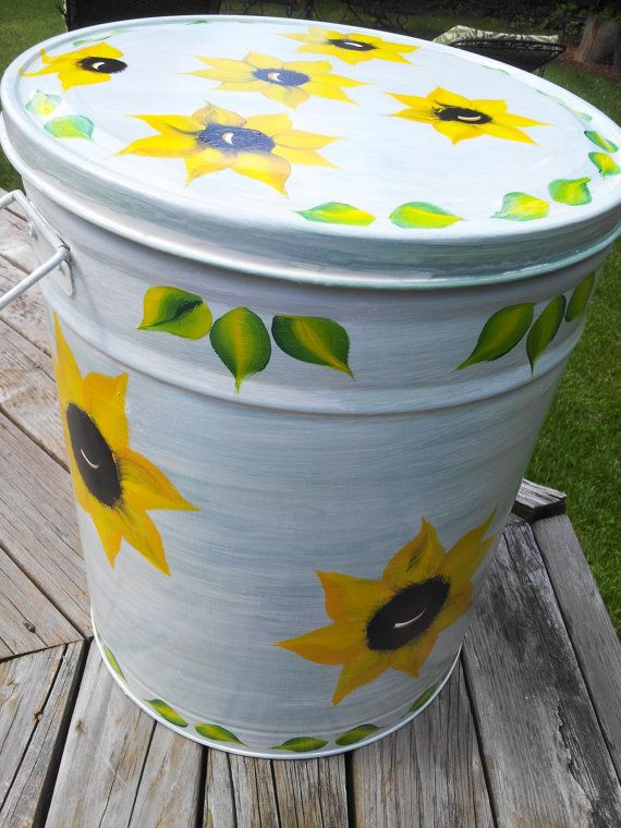 5 Gallon Hand Painted Galvanized Trash Can by ...