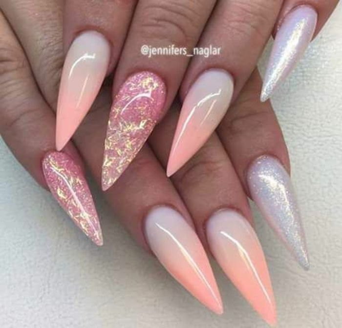 ombre effect sharp and long, stiletto acrylic nails, in pale pastel ...