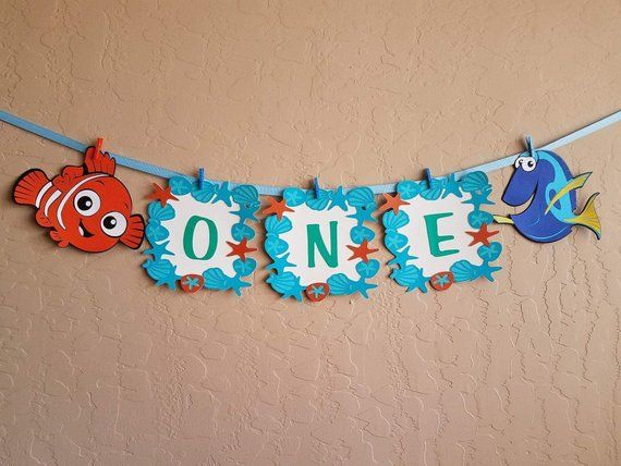 Finding Nemo/Dory Banner, Baby Boy High Chair Banner, Blue Banner, Baby Boy First Birthday,