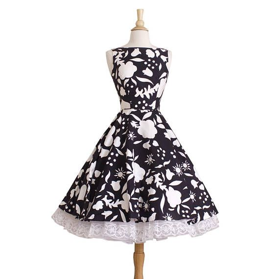 This Little Black And White Sun Dress Is Just So Adorable It Features A Bateau Neckline An Interesting Floral Silk Dress Design Silk Floral Dress Mid Dresses