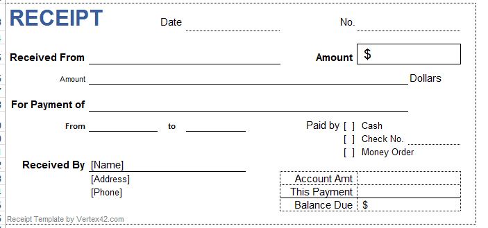 Cheque Receipt Template Excel Receipt Template 02  Stuff To Buy  Pinterest  Receipt .