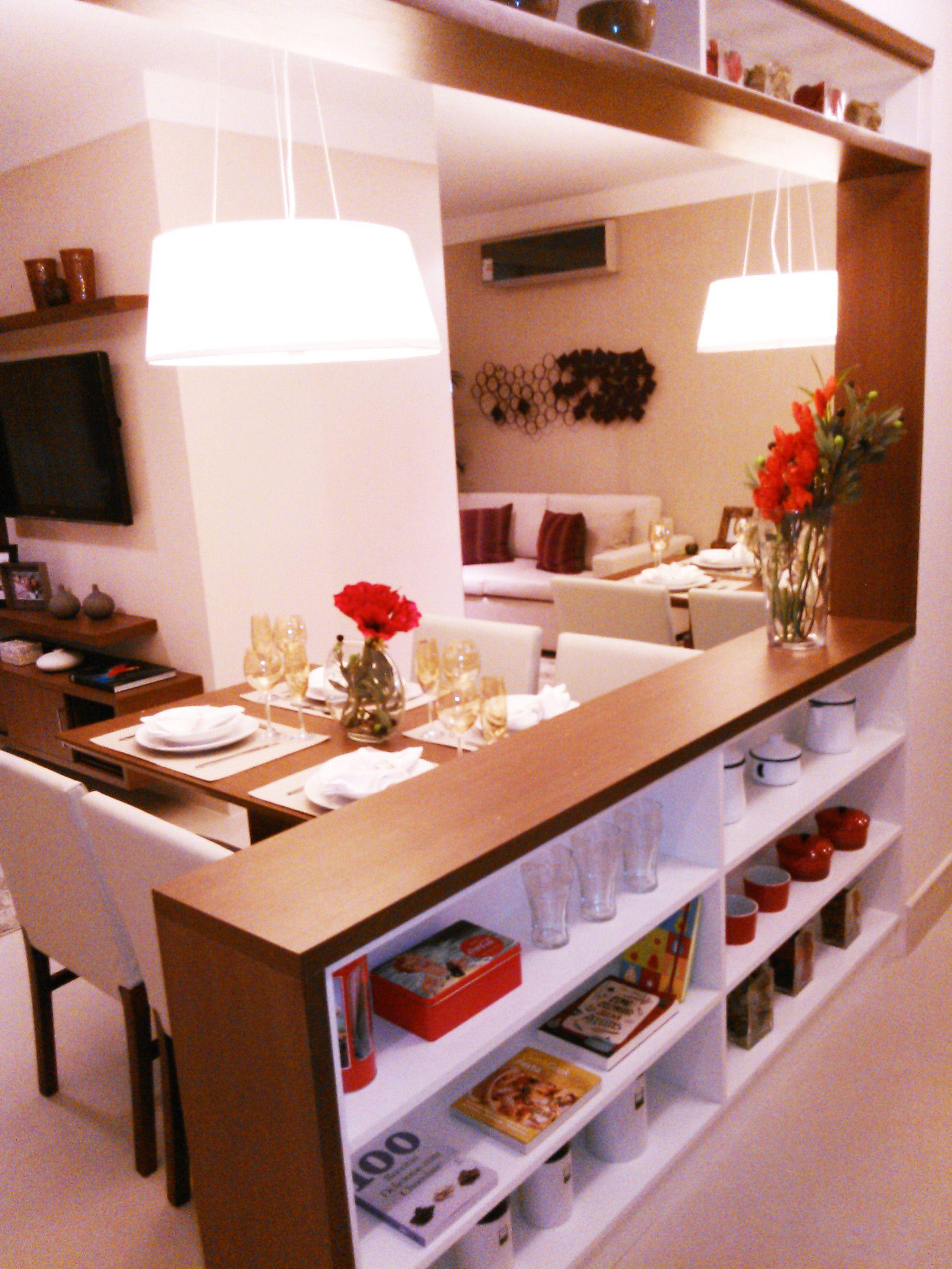 Balc O Com Estante Para Integrar Cozinha E Sala De Jantar