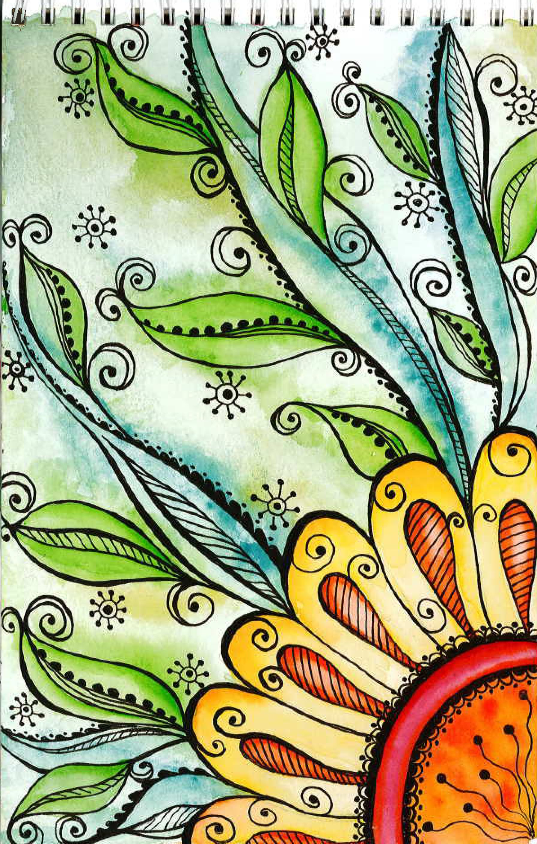Zen doodle colour - Sharpie Doodle Filled With Water Color And More Sharpie Doodle Embellishments Zentangle Style