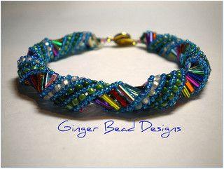 Spiral Rainbow Bracelet | by gingerbeaddesigns