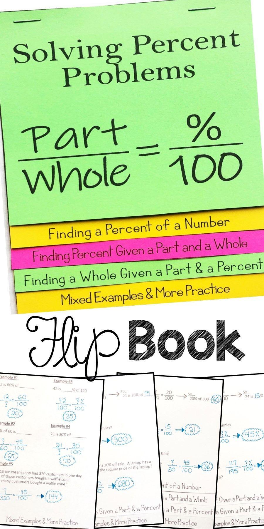 Solving Percent Problems Flip Book Foldable Math Interactive Notebook Middle School Math Interactive Math Journals