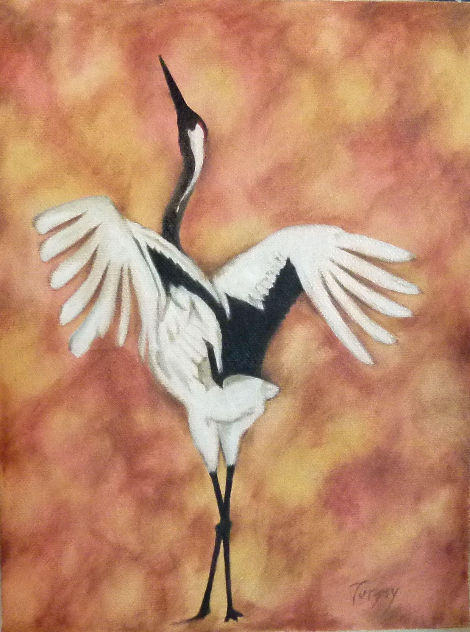 Japanese Redheaded Sandhill Crane Oil On Canvas 24x18 Cm 2013 Birds Painting Oil On Canvas Canvas Painting
