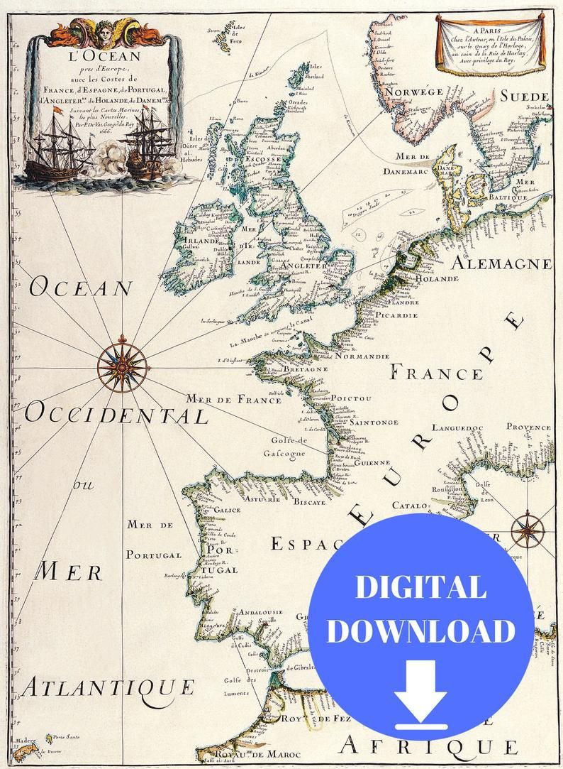 Oude Kaart Van Europa Digitale Kaart Afdrukken Vintage Etsy In 2020 Cartography Map Old Maps Europe Map