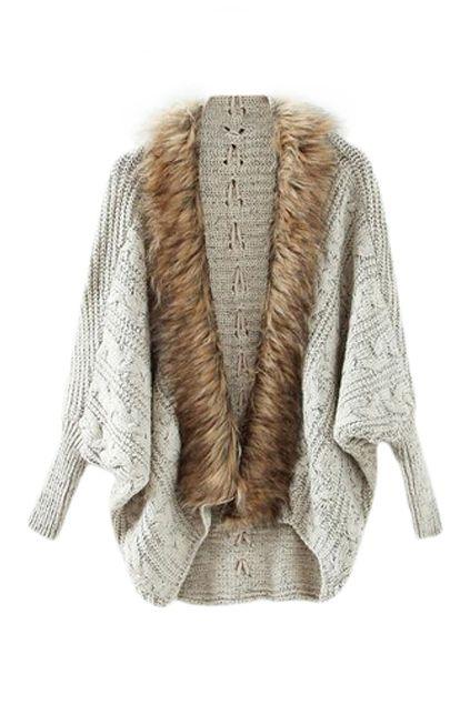 Faux Fur Open-front Grey Cardigan