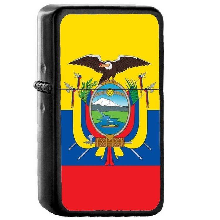 Ecuador Country National Emblem Flag Oil Flip Top Black