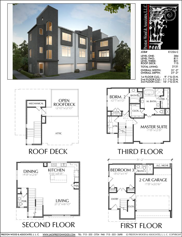 3 1 2 Story Townhouse Plan E1226 C Town House Floor Plan Townhouse Contemporary House Plans