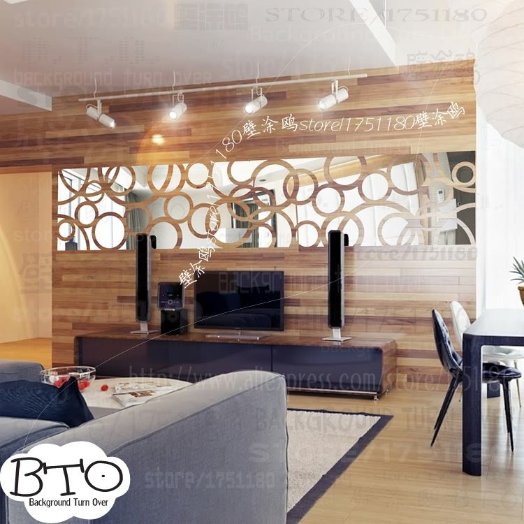 DIY mode creatieve cirkel ring TV achtergrond 3D spiegel decoratieve ...