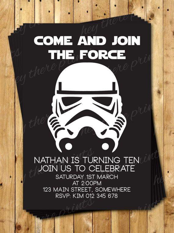 Storm Trooper Birthday Invitations Star Wars Darth Vader