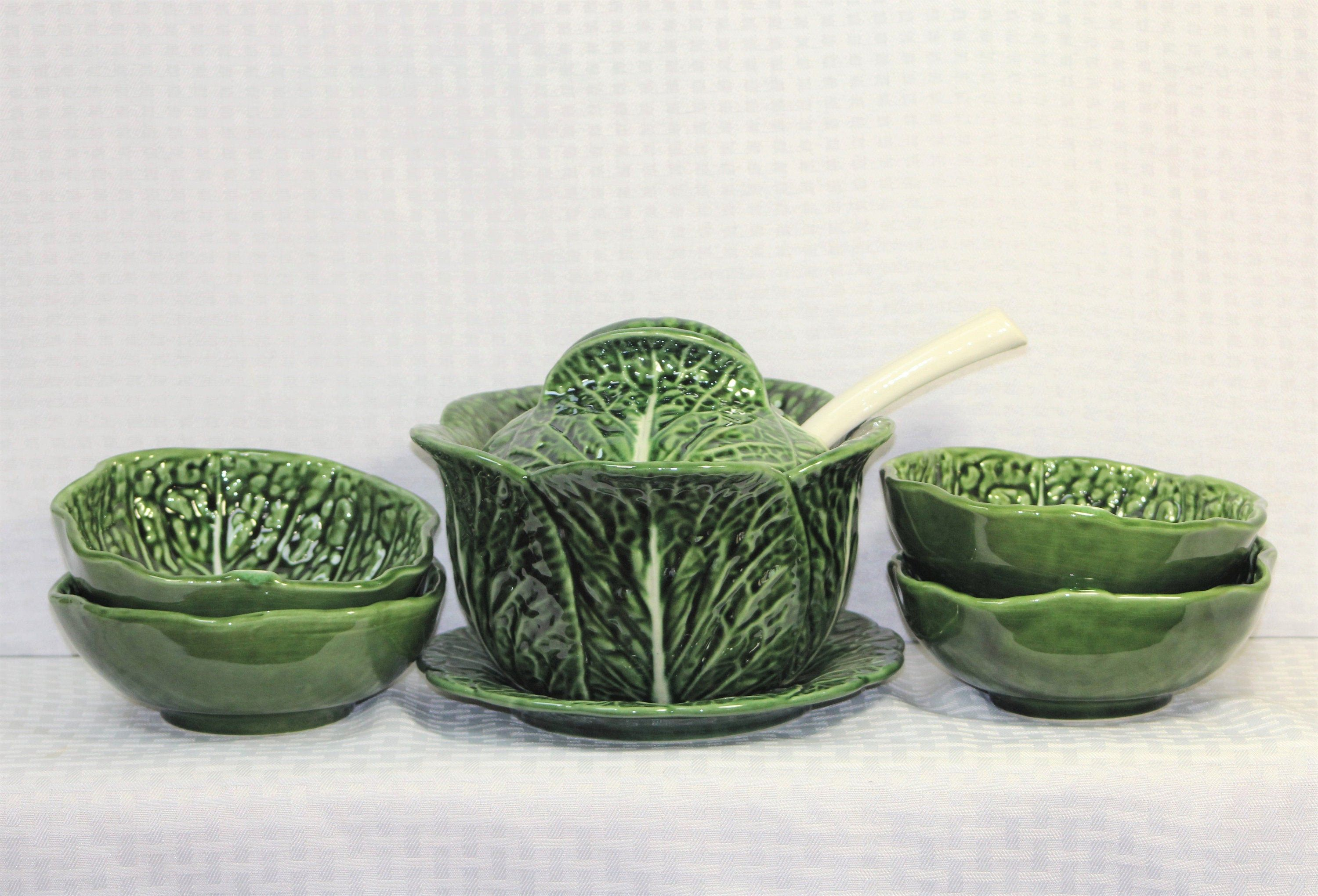 Majolica Green Cabbage Soup Set Soup Tureen Serving Plate Etsy Large Soup Bowls Cabbage Soup Green Cabbage