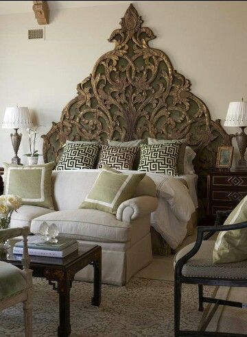 Gorgeous headboard - I love the idea of the Indian/Boho style wood carvings for a headboard too