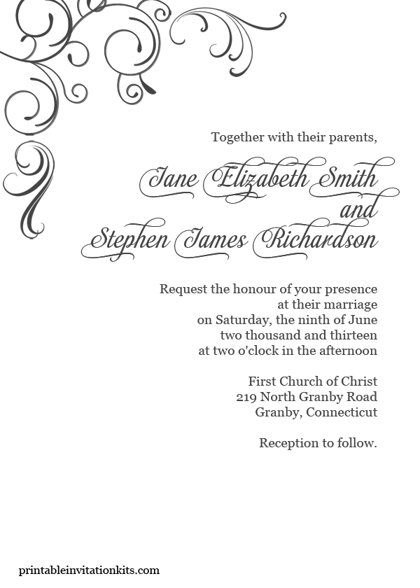 FREE PDF Download. Simply elegant, swirls border wedding invitation ...