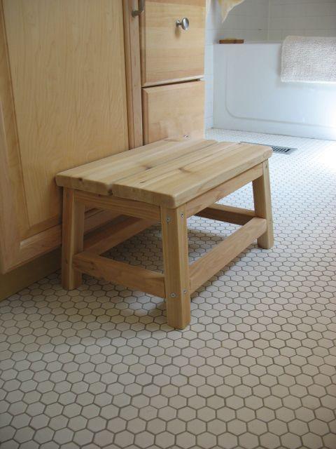 Bedside Step Stools For Adults: Cedar Spa Bathroom Step Stool - DIY Projects