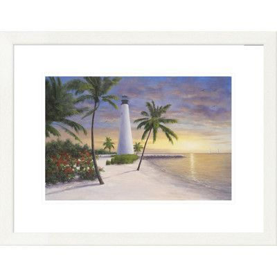 Global Gallery 'Coastal Lighthouse - Key Biscayne' by Diane Romanello Framed Painting Print Size: 2